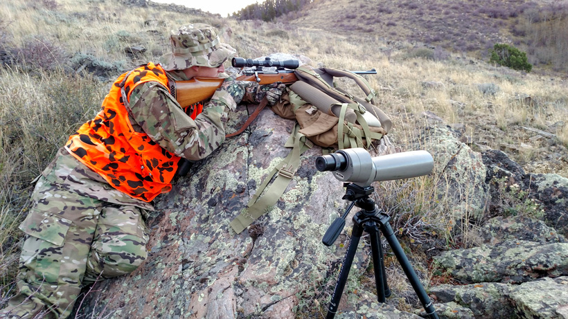 Mark preparing to shoot a mule deer buck