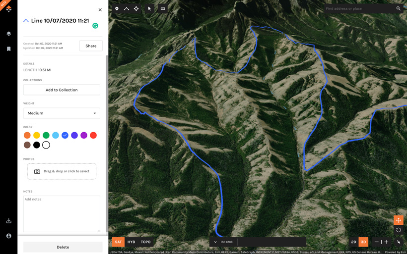 Marking potential hiking routes looking for elk