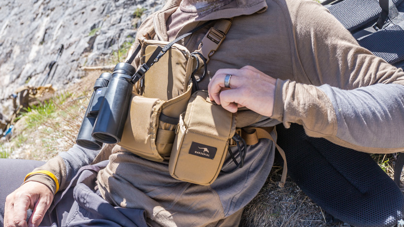 Marsupial Bino harness and rangefinder pouch