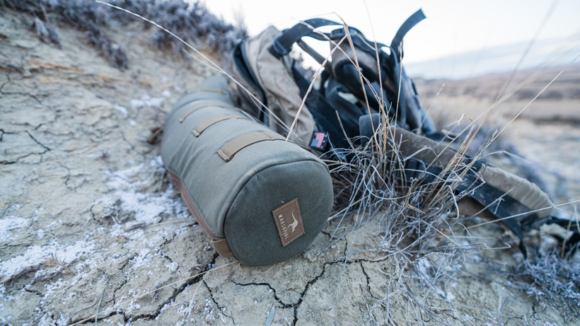 Marsupial Gear spotting scope case while hunting