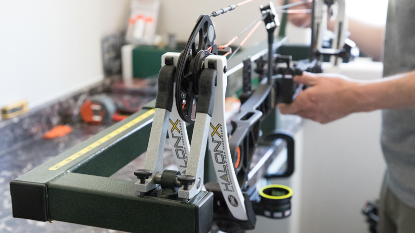 Mathews Halon X in bow press