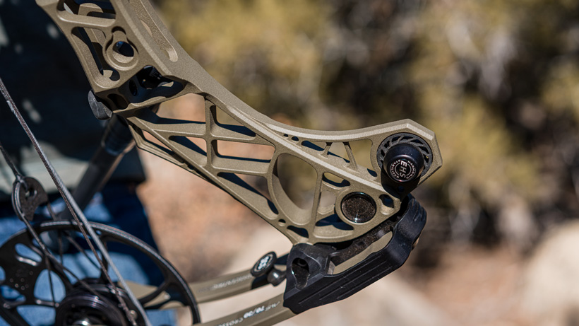 Mathews VXR bow showing harmonic stabilizer
