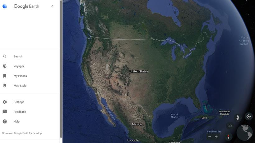 Menu options for Google Earth web
