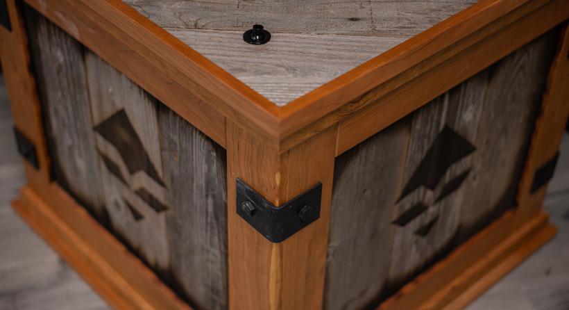 Metal brackets on wood