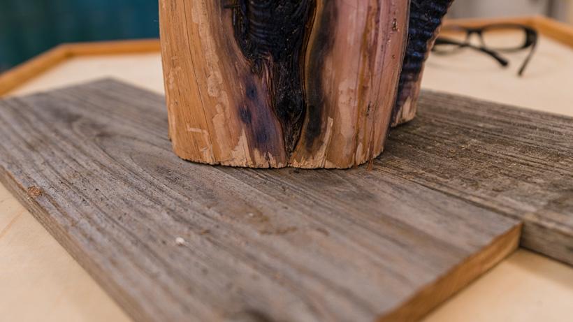 Mocking up stump and barn wood