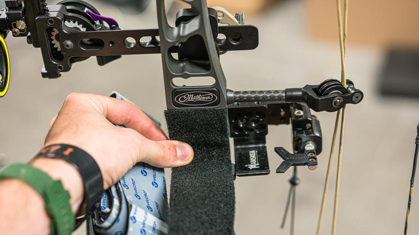 Mocking up velcro tape on Mathews bow