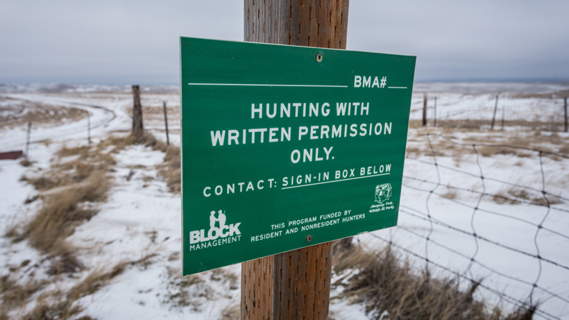 Montana Block Management Area sign