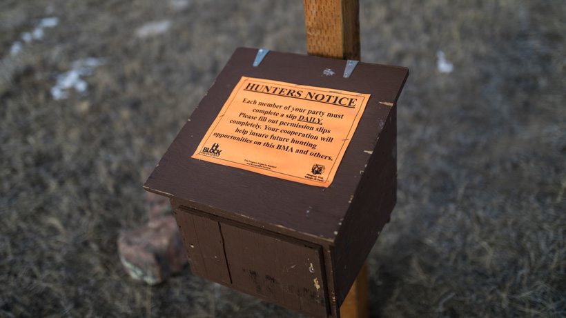 Montana Block Management hunting sign in box close up