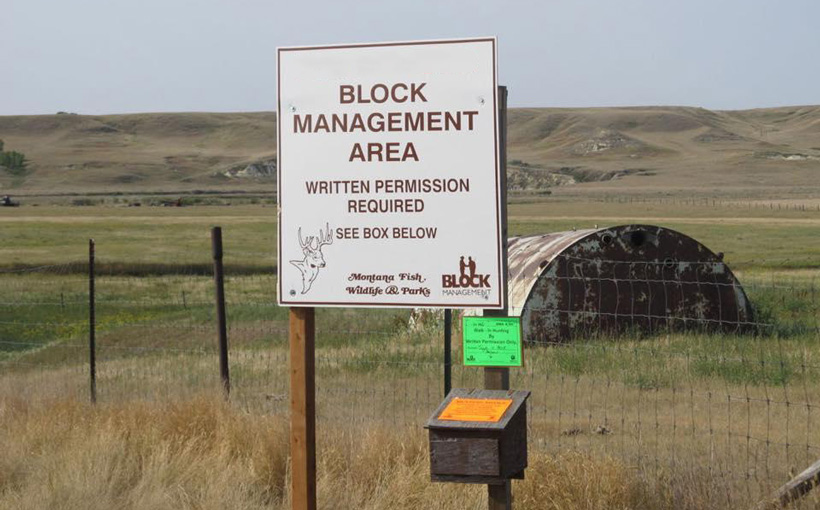 Montana Block Management hunting sign in box