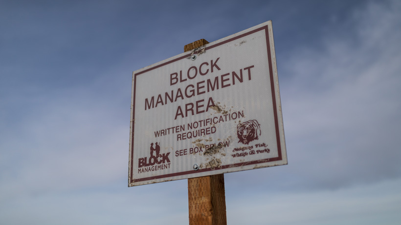 Montana Block Management sign in box for hunting