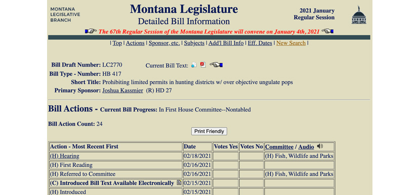 Montana House bill 417 detailed information