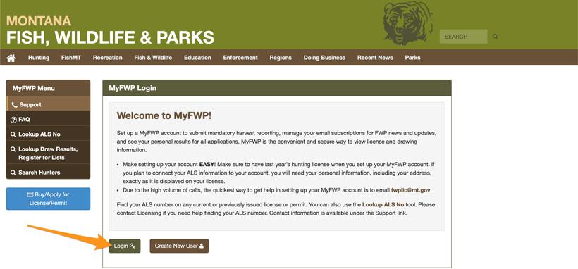 Montana MyFWP login page