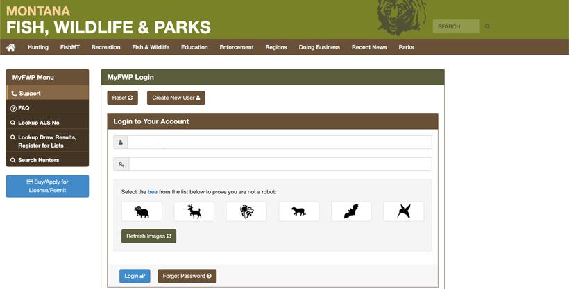 Montana MyFWP username page