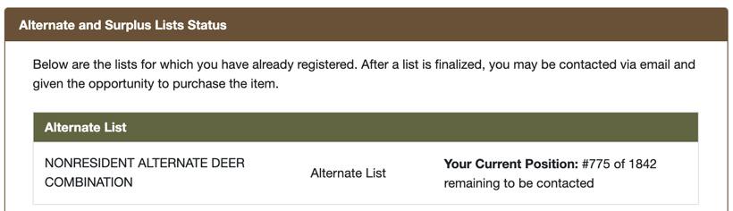 Montana alternate list results screenshot