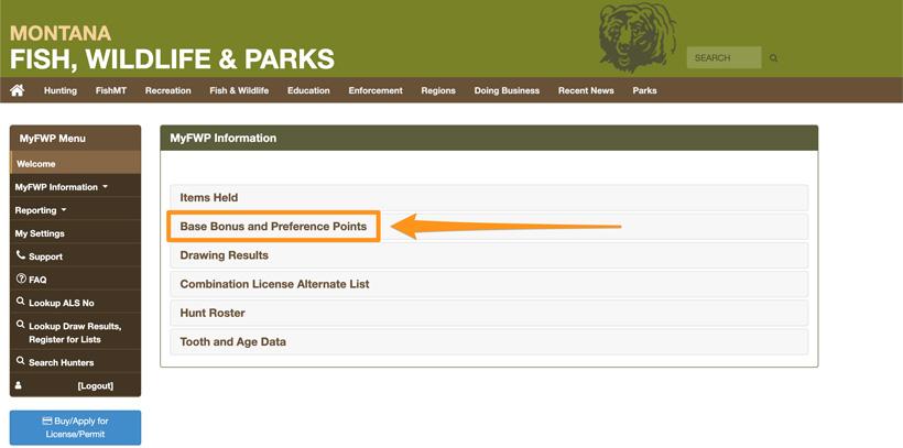 Montana bonus and preference point page