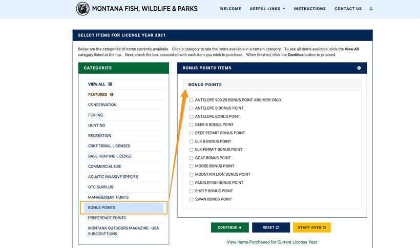 Montana bonus points purchase screenshot