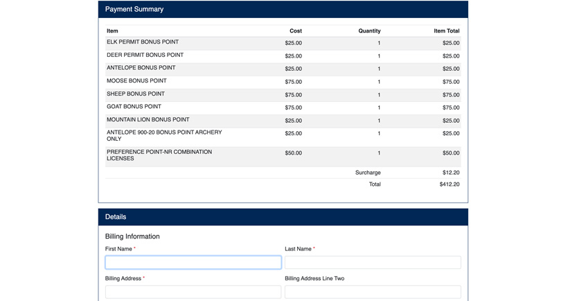 Montana points purchase payment summary
