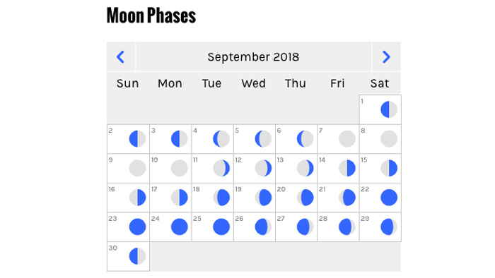 Moon Phase Calendar From goHUNT Unit Profiles