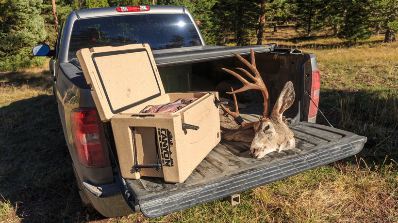 Mule deer meat and antlers back at truck