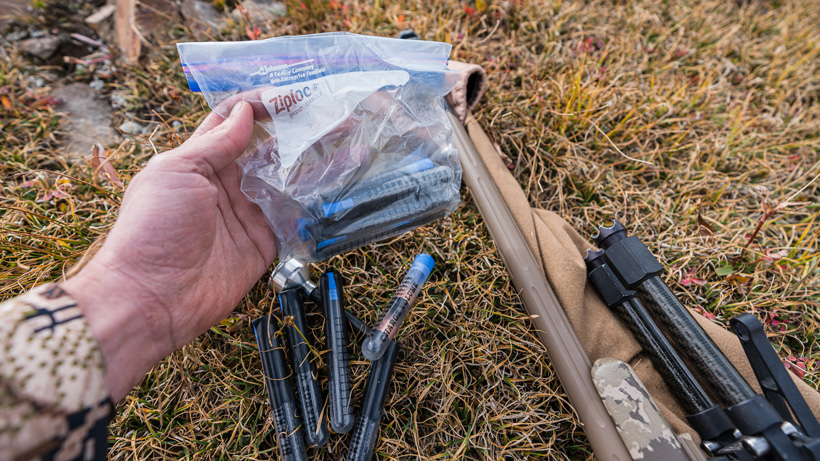 Muzzleloader charge tubes places in ziploc bag