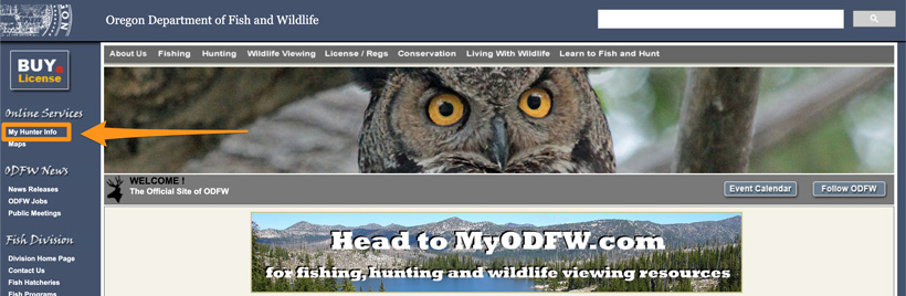 My Hunter Info on Oregon Fish Wildlife homepage