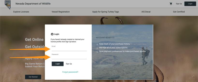 NDOW licensing login page