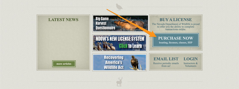 NDOW purchase hunting license button