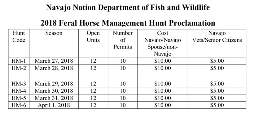 Navajo Nation 2018 feral horse hunt proclamation