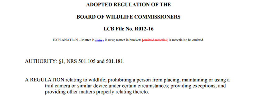 Nevada adopted trail camera law