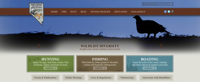 Nevada department of wildlife homepage