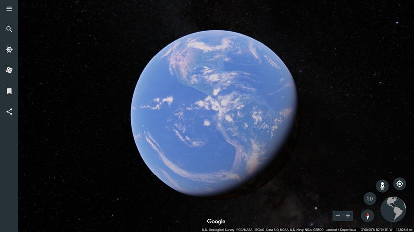 New Google Earth web layout