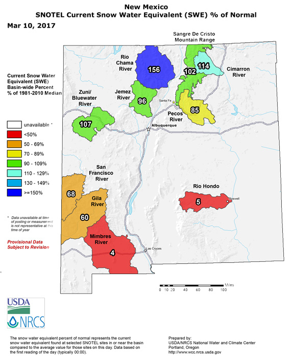New Mexico snow water equivalent March 2017