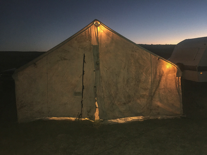 Wall tent setup for hunting elk in New Mexico