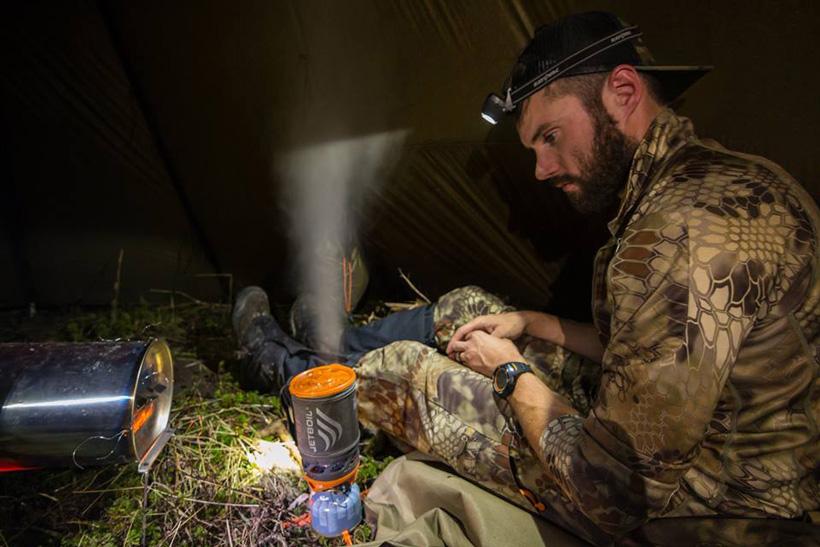 Nick Schmit cooking a freeze dried dinner