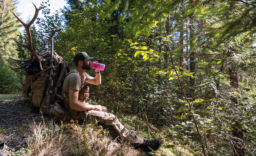 Nick Schmit taking a break from packing out elk