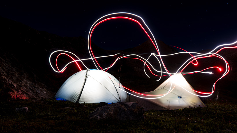 Night life with Stone Glacier tents