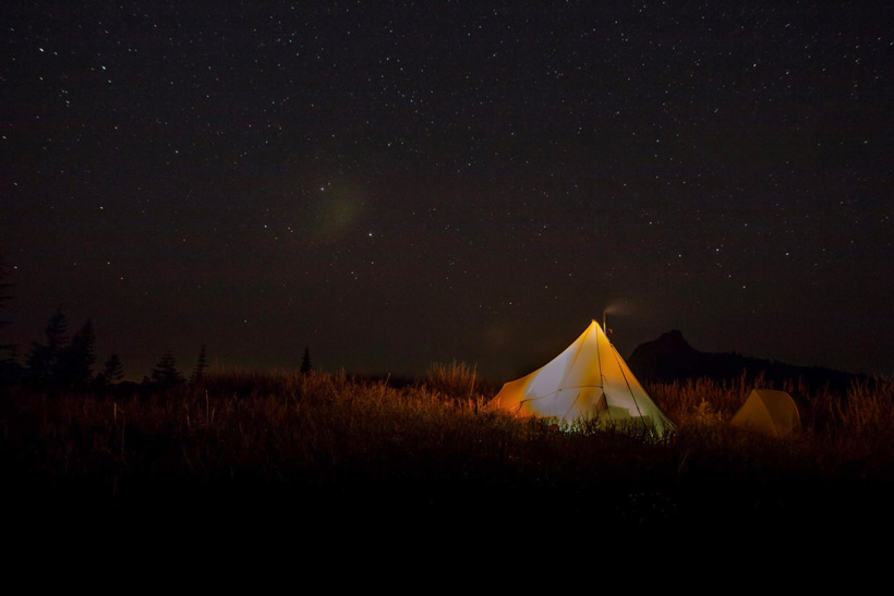 Night tent photo in the backcountry