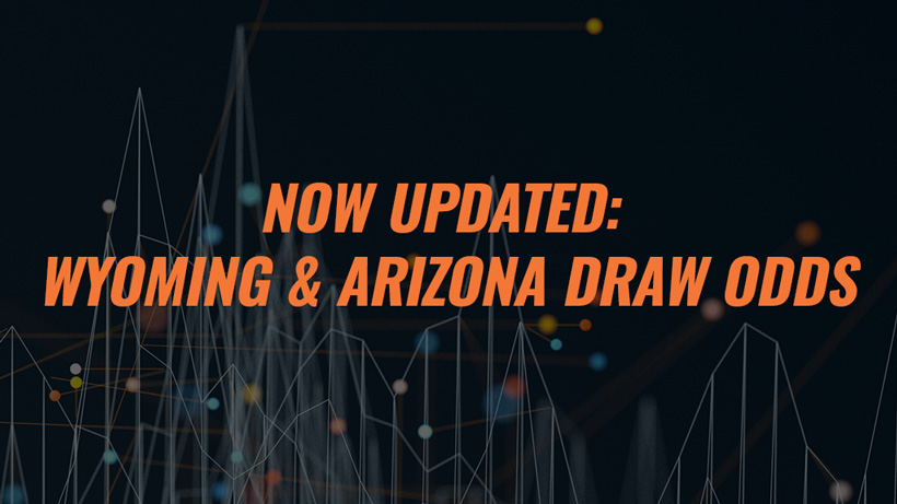 Now updated 2019 Wyoming and Arizona draw odds