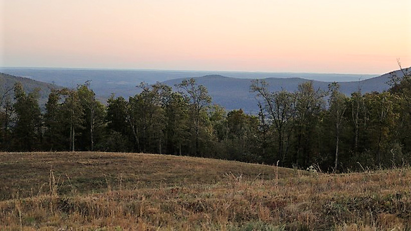 Open fields while hunting elk in Arkansas