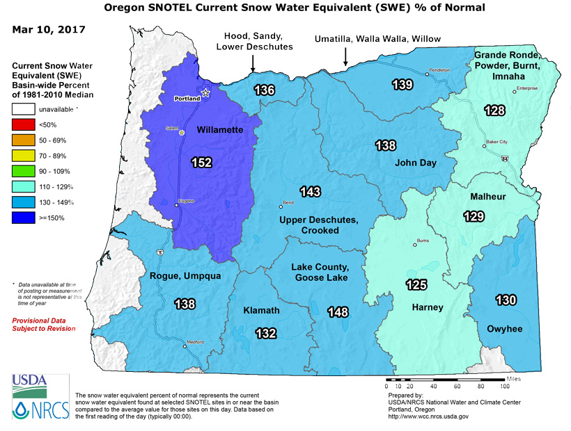Oregon snow water equivalent March 2017