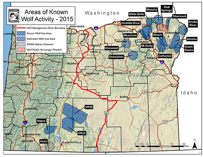 Areas of known wolf activity