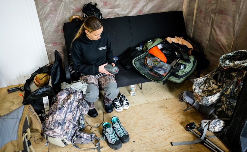 Organizing gear for the caribou hunt