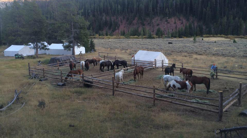 Outfitter hunting camp in the backcountry