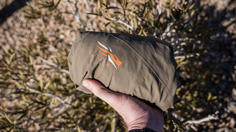 Packability of Sitka Dew Point rain jacket