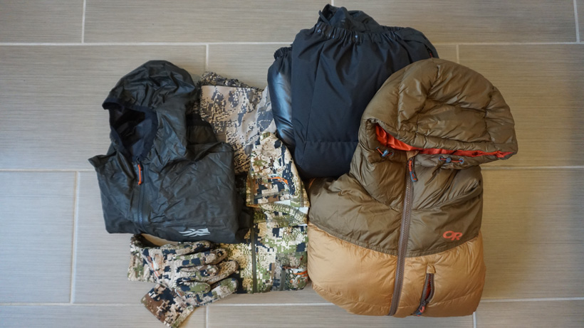 Packed clothes for archery elk hunting