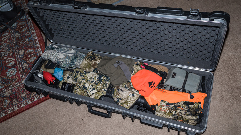 Packing hard sided gun case with gear