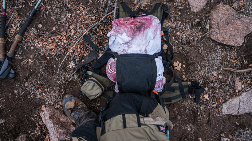 Packing out deer meat with Stone Glacier backpack