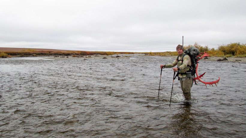 Packing the caribou back to camp and across a river