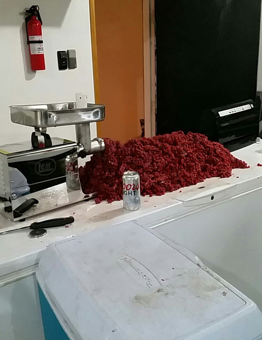 Processing the the elk meat