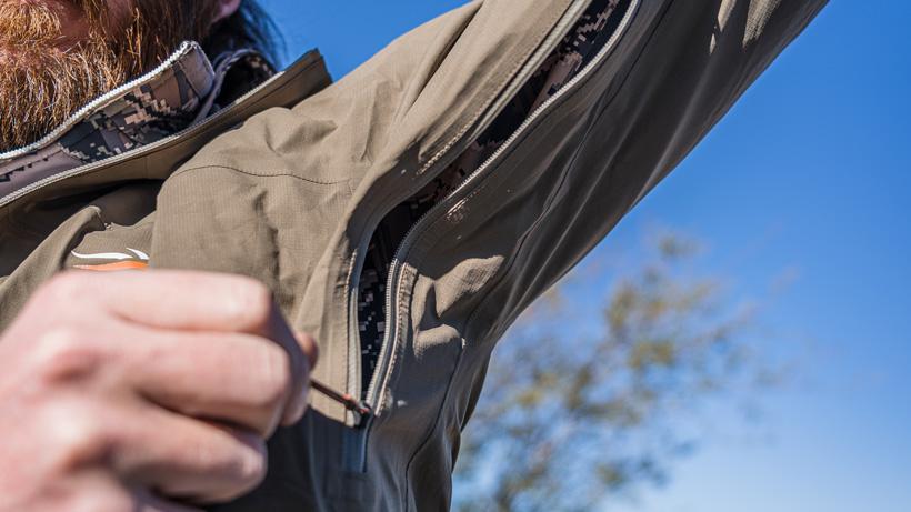 Pit zips to dump heat on Sitka Dew Point jacket
